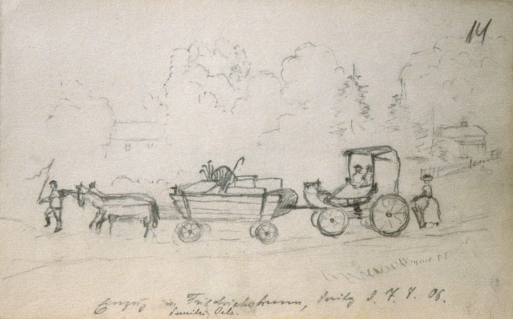 Drawing by Adolf Hitler showing men and horses directing a wagon and carriage.