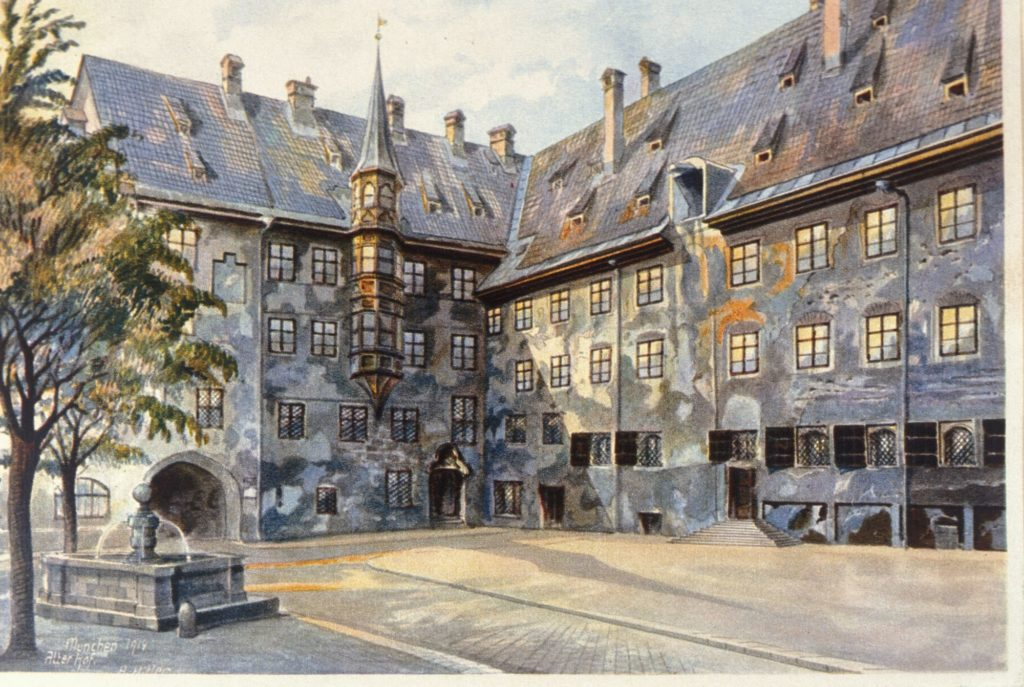Watercolor by Adolf Hitler depicting a quiet courtyard at a residence in Munich.