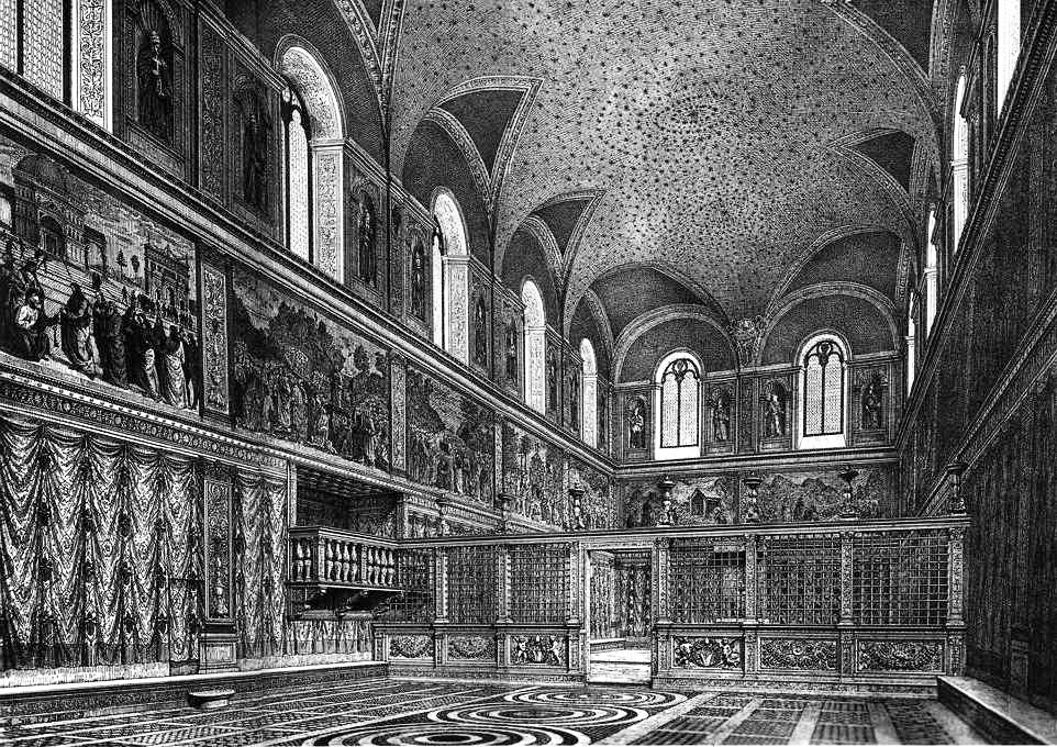 the sistine chapel, ink drawing, before michalengelo