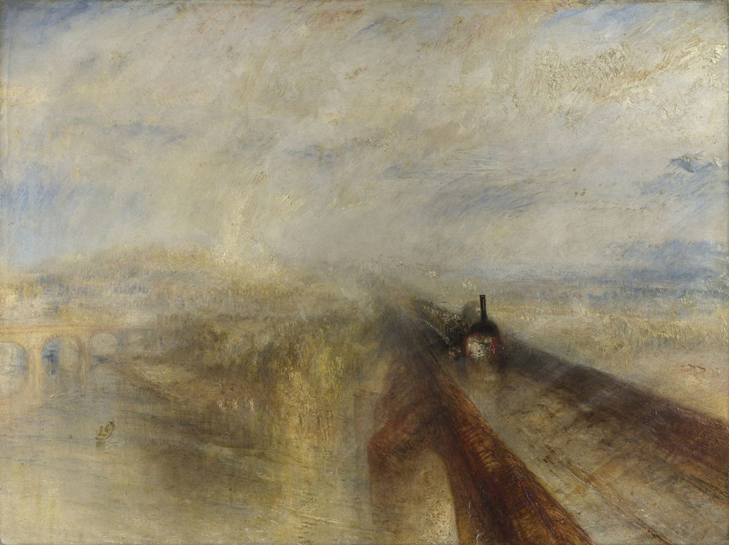 British Landscape by Joseph Mallord William Turner, Rain, Steam, and Speed – The Great Western Railway, 1844, oil on canvas