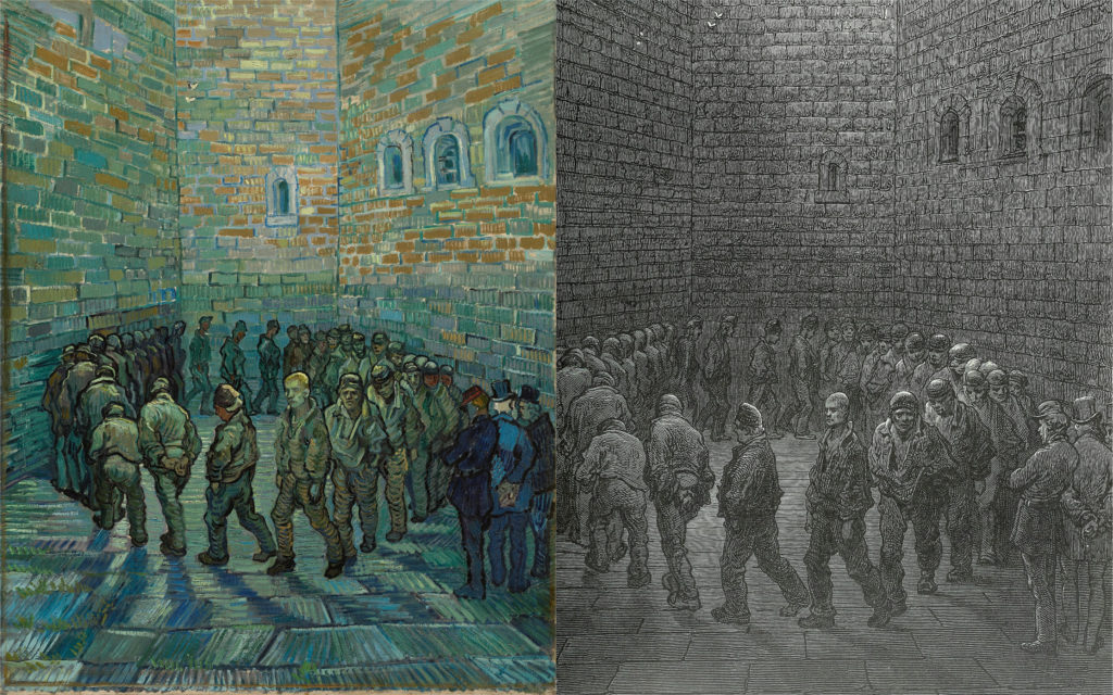 Collage of Vincent van Gogh's prisoners exercising (after Dore) along with original engraving