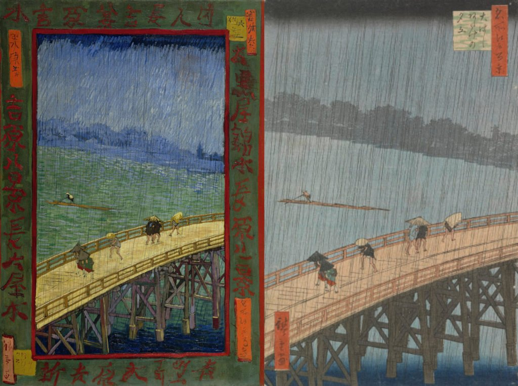 Collage of Vincent van Gogh, Bridge in the Rain (after Hiroshige) along with original artwork