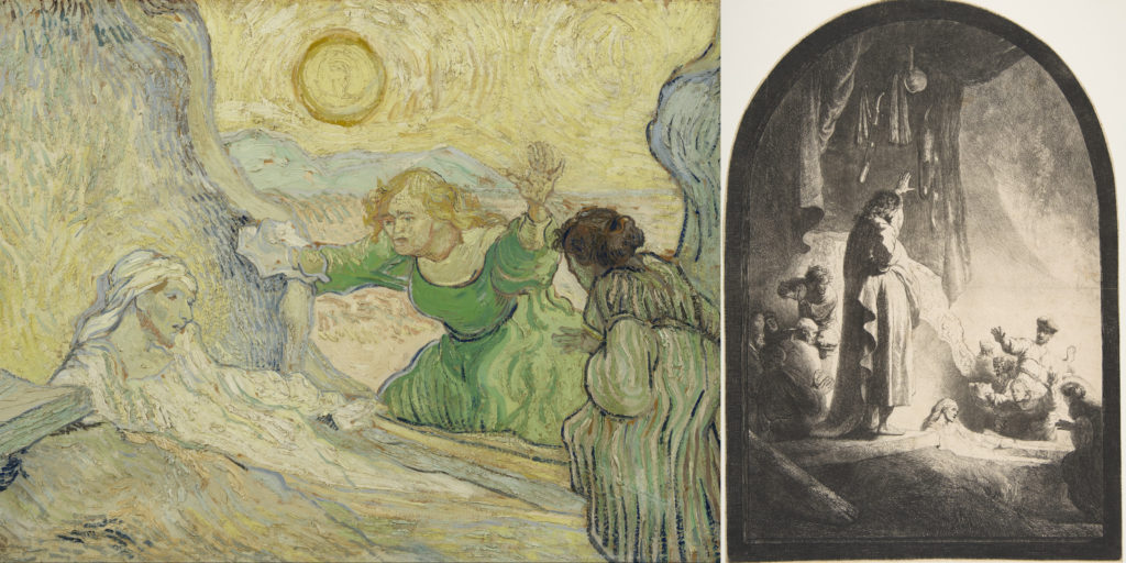 Collage of Vincent Van Gogh, The Raising of Lazarus (after Rembrandt) along with original artwork.