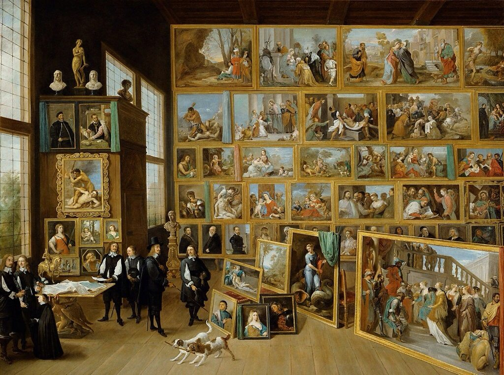 Cabinets of Curiosities; wunderkammer David Tieners the Younger, The Archduke Leopold Wilhelm in his Gallery at Brussels, 1651, Kunsthistorisches Museum, Vienna.