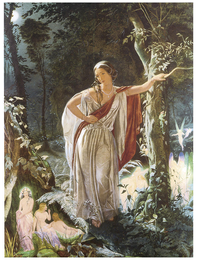 A Midsummer Night's Dream in art: John Simmons, Hermia and the Fairies, Hermia leans against a tree, surrounded by fairies