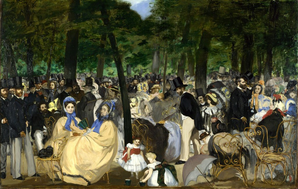The painting of Edouard Manet, Music in the Tuileries Garden, 1862. impressionism