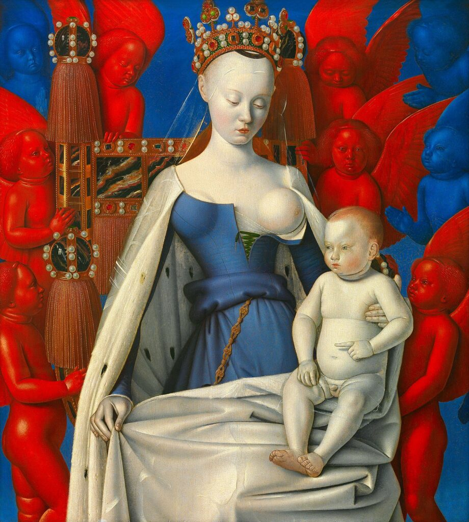 Five artist models you should know about: Jean Fouquet, right wing of the Melun Diptych, Virgin and Child Surrounded by Angels