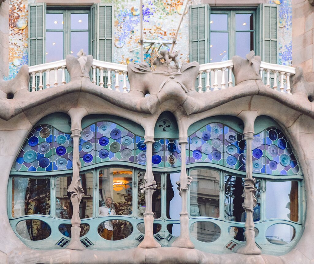 Art Nouveau Explained: Detail of the exterior of Casa Batlló in Barcelona, Spain. Photo of the author.