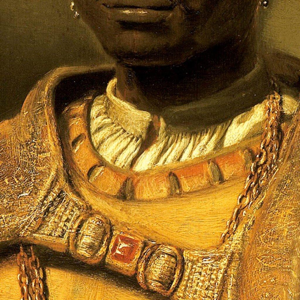 Hendrik Heerschop, The African King Caspar, 1654, Gemäldegalerie, Berlin. Enlarged Detail of Neckline.