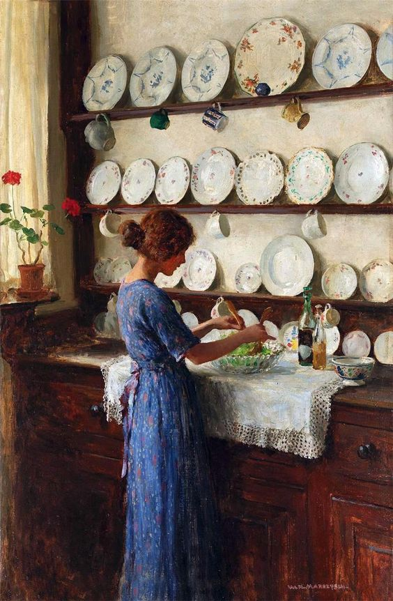 William Henry Margetson, Lady of the House, lady in a blue dress tossing a salad