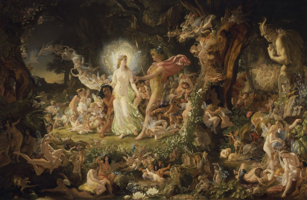 A Midsummer Night's Dream in art: Sir Joseph Noel Paton, The Quarrel of Oberon and Titania, the King and Queen of the fairies have an argument, surrounded by al their court