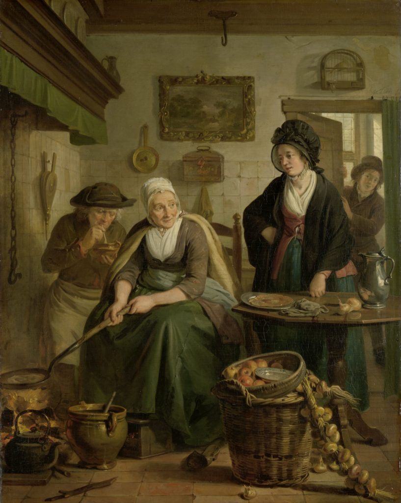 Adriaan de Leile, Woman Baking Pancakes, an elderly lady is cooking pancakes at the hearth, while a lady visits her in the kitchen