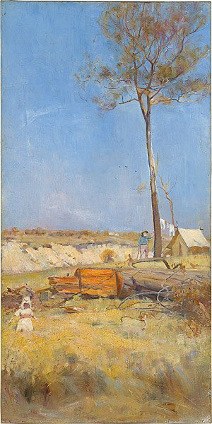 Charles Conder, Under a Southern Sky, Timber Splitter's Camp Australian Impressionism