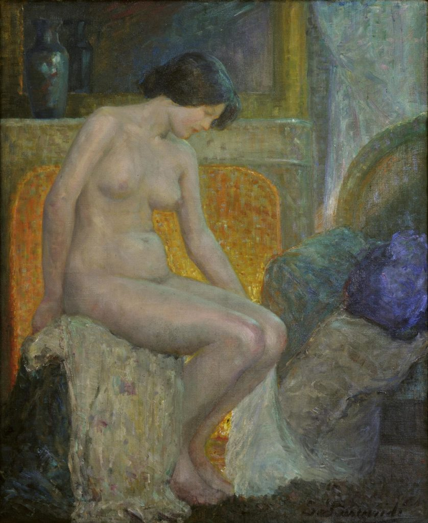 Greek Female Artists You Should Know: Sophia Laskaridou, In Front of the Fireplace, 1910 - 1912, oil on canvas, National Gallery of Greece, Athens, Greece.