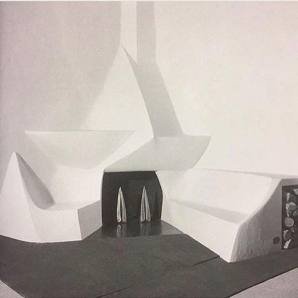 Valentine Schlegel Sculptor: Valentine Schlegel, plaster fireplace design