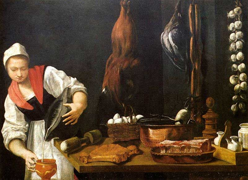 Andrea Commodi, Young Woman in the Kitchen, a lady at the kitchen counter, pouring liquid onto bowl