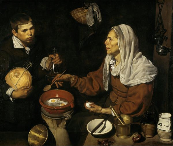 Diego Velázquez, An Old Woman Cooking Eggs, a lady frying eggs while a boy holds a goblet and gourd