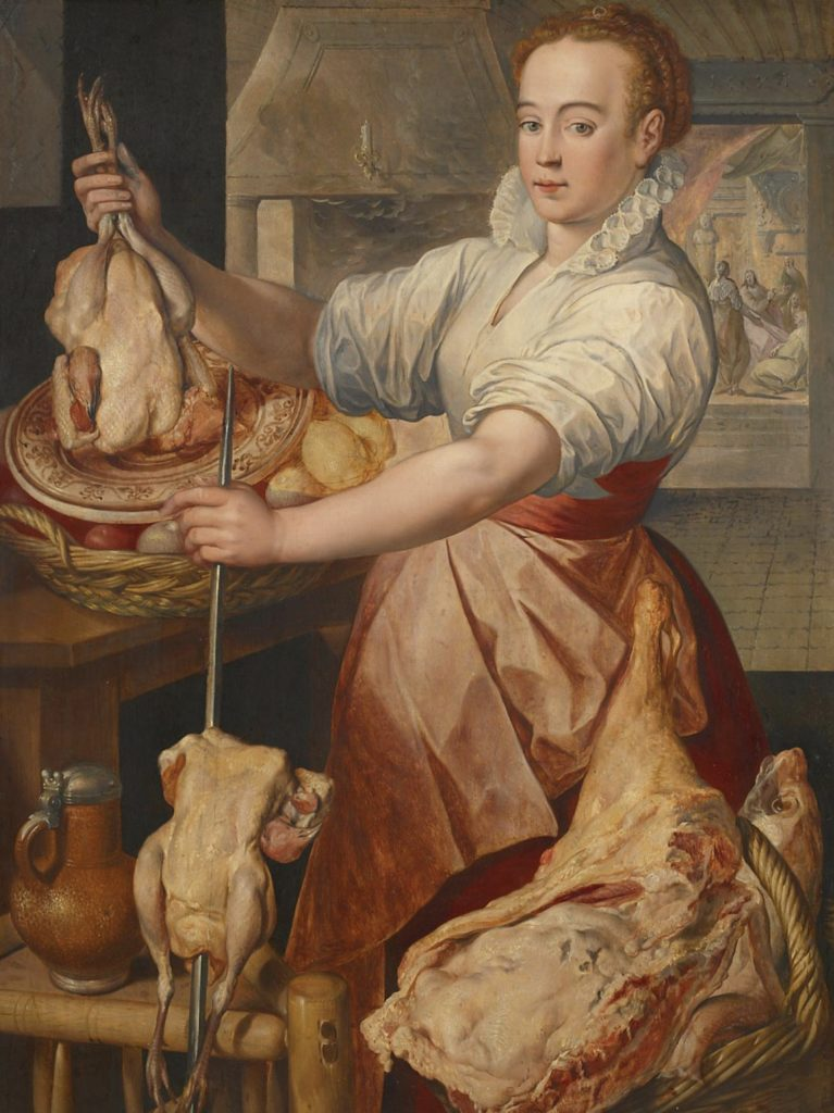 Joachim Beuckelaer, Cook with Chicken. In the Background Christ with Mary and Martha, a lady is preparing some chickens to roast
