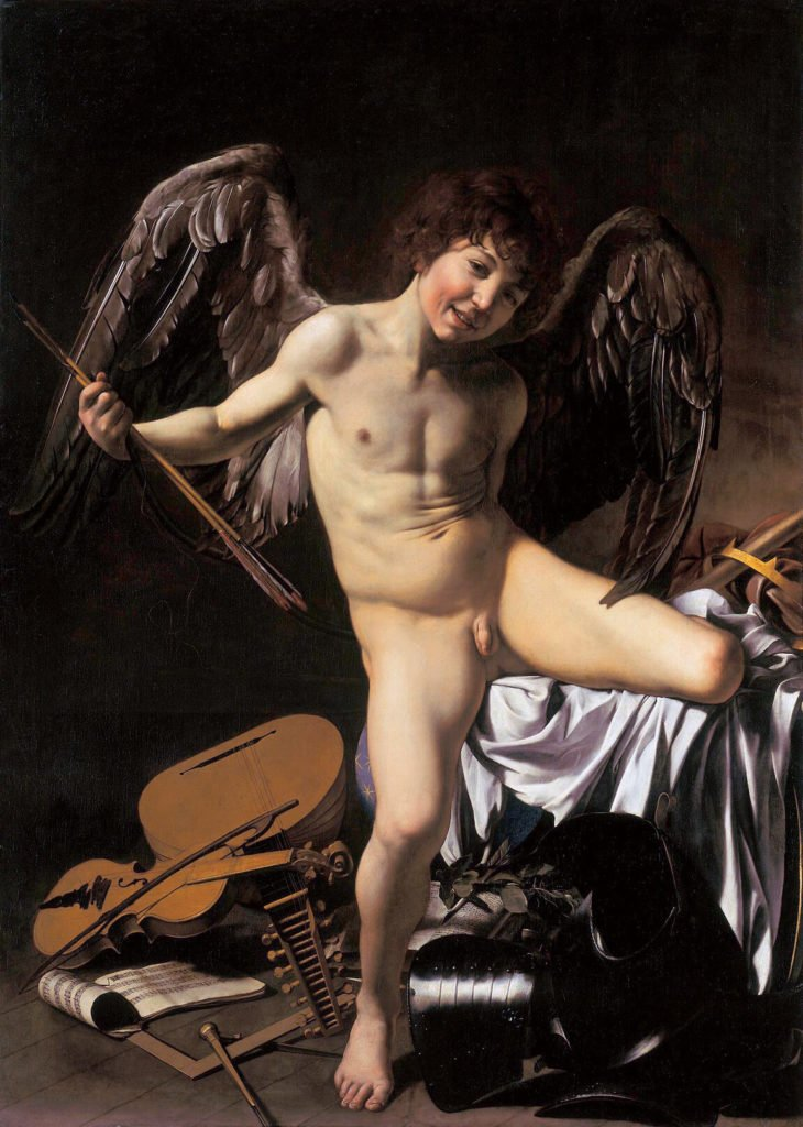 Male nudes in art history: Caravaggio, Amor Vincit Omnia (Love Conquers All), Victorious Cupid