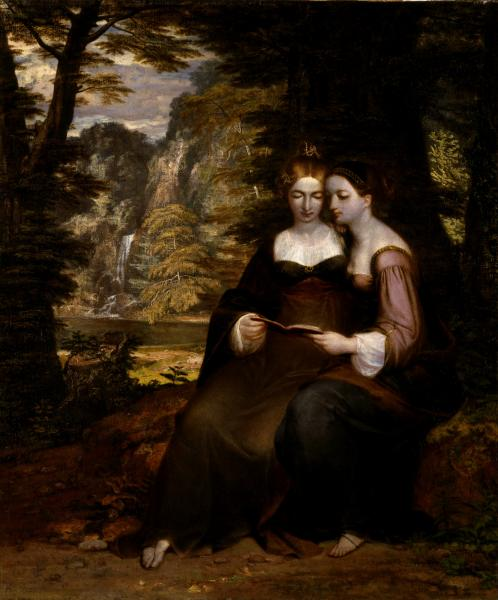 A Midsummer Night's Dream in art: Washington Allston, Hermia and Helena, the two girls sit together reading a book