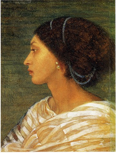 Painting by Joanna Mary Boyce showing a bejewelled woman with dark hair and skintone in profile. The woman is Fanny Eaton, an other Pre-Raphaelite Sister.