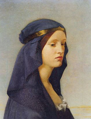 A painting by Joanna Mary Boyce of a young woman with a blue headdress looking down.Joanna Mary Boyce, Elvira