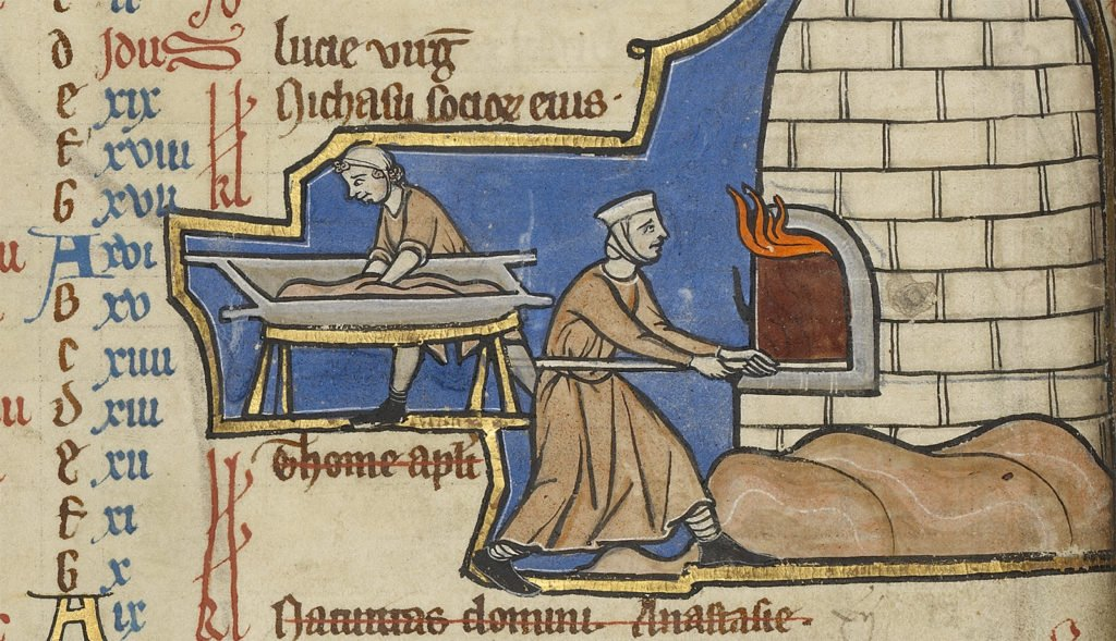 Unknown Illuminator, Baking Bread, detail from an illuminated manuscript showing medieval bakers kneading dough and putting bread in the oven