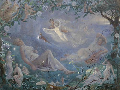 A Midsummer Night's Dream in art: John Simmons, Scene from a Midsummer NIght's Dream, Helena and Hermia have fallen asleep, surrounded by fairies, while Oberon and Titania sing them to sleep