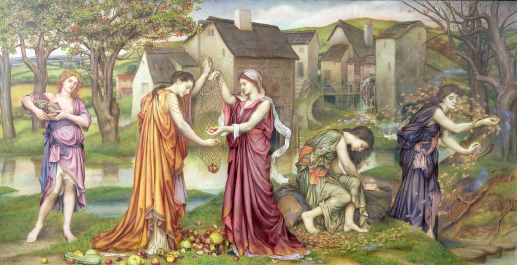 A painting by Evelyn De Morgan showing five women in a field dressed in the bold colors. The Cadence of Autumn.