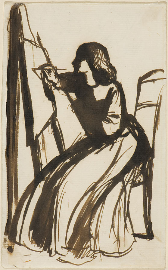 Painting of Elizabeth Siddal, one of the Pre-Raphaelite Sisters, sitting in front of her easel. Dante Gabriel Rossetti, Elizabeth Siddall Seated at an Easel