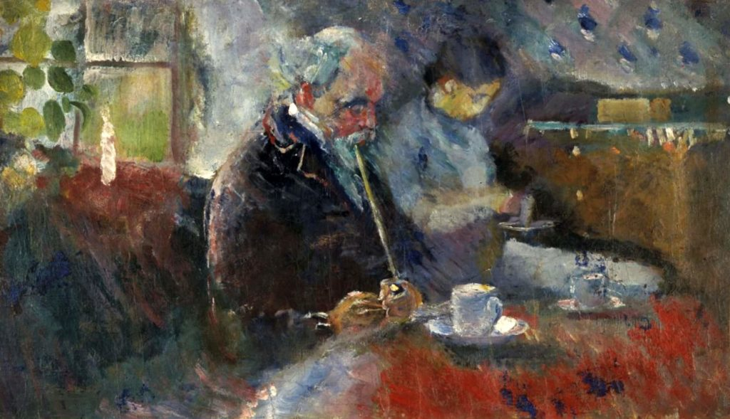 the painting of a man and a woman sitting at the coffee table Edvard Munch, At the Coffee Table
