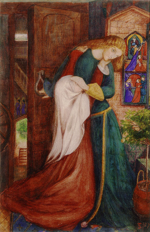 A painting by Elizabeth Siddall, one of the Pre-Raphaelite Sisters, of a woman embracing a young girl in a medieval setting. Elizabeth Siddall, Lady Clare,