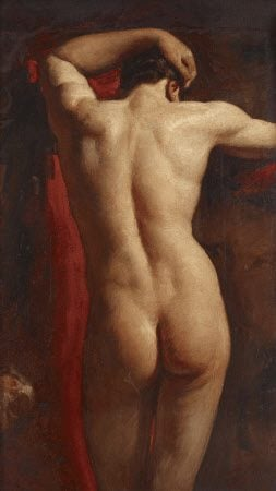 William Etty, Academic Study of a Male Nude, seen from Behind,