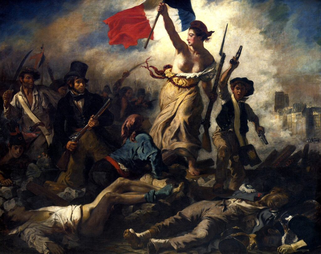 """The painting of Eugene Delacroix """"Liberty Leading the People"""", 1830. It portrays Liberty as both an allegorical goddess-figure and a robust woman of the people."""