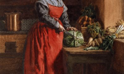Leon Bonvin, A Cook, Cook with a Red Apron, lady chopping a head of cabbage