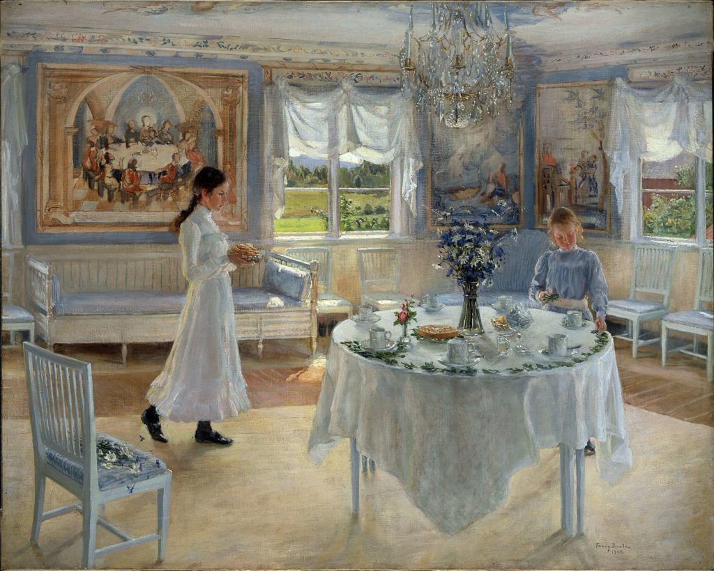 summer meal art the painting of the celebration with a table in the middle of the room, two young ladies organizing the table with cups, pie, dessert, and flowers Fanny Brate, A Day of Celebration summer meal art