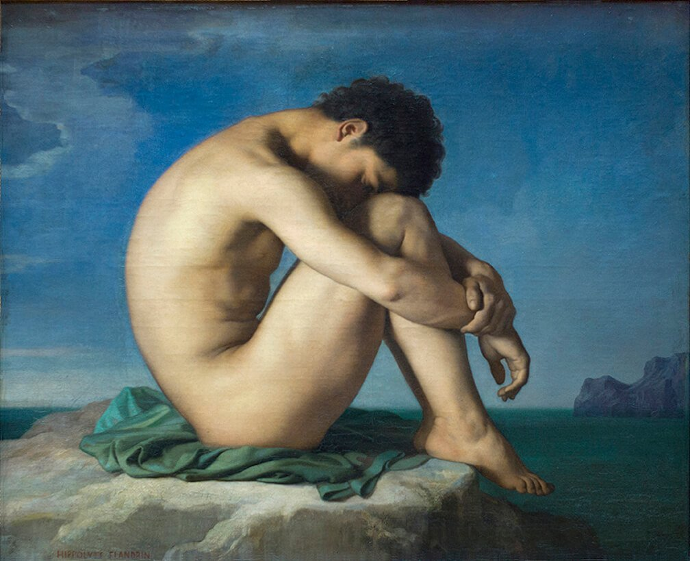 Male nudes in art history: Jean-Hippolyte Flandrin, Study, Young Male Nude Seated beside the Sea