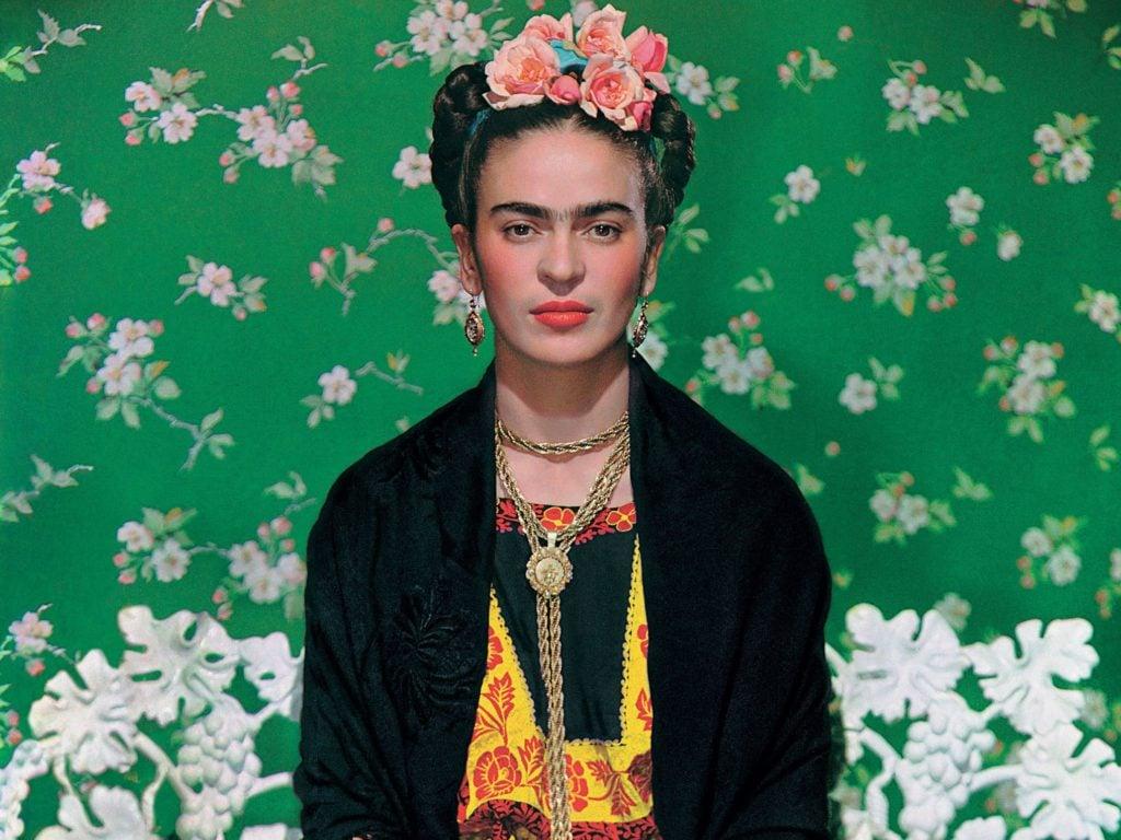 Feminist Artists: Nickolas Muray, Frida Kahlo on White Bench, 1939