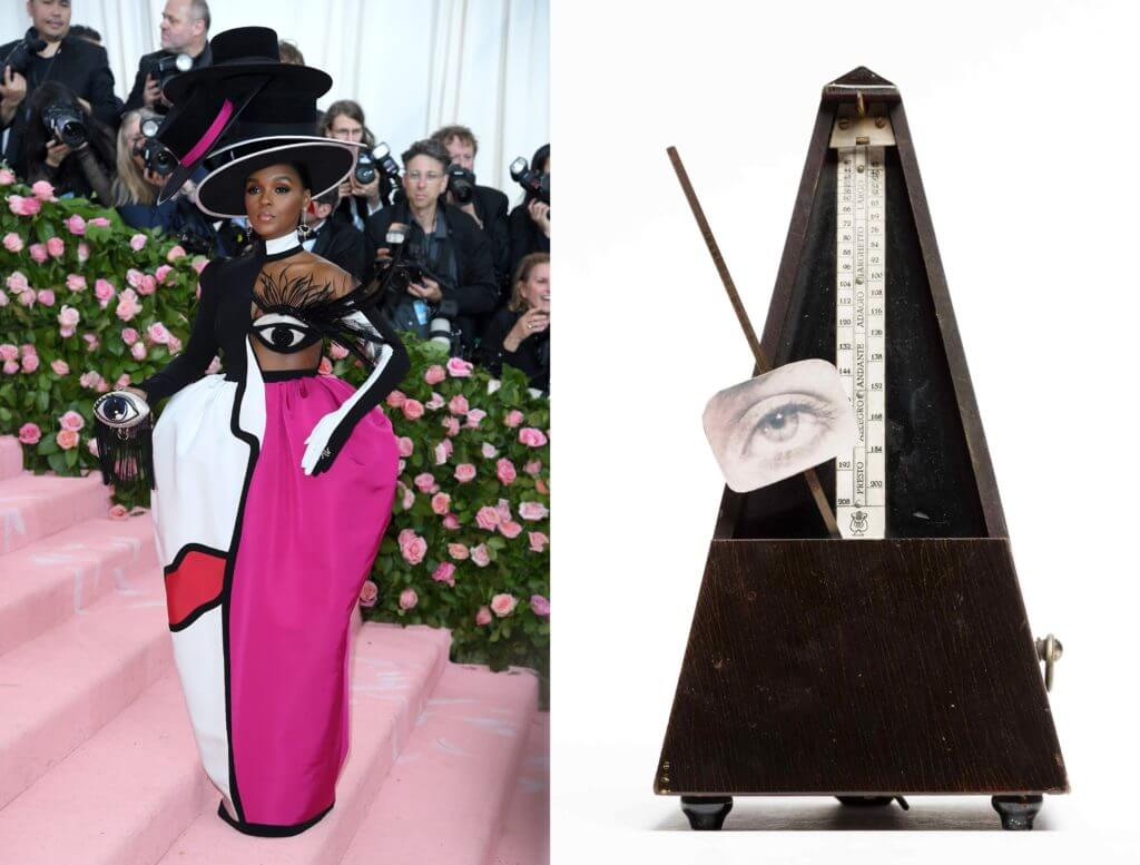 Left: Janelle Monae in Christian Siriano's dress, Met Gala 2019, New York, NY, USA. Time; Right: Man Ray, Indestructible Object, 1964, Museum of Modern Art, New York, NY, USA.