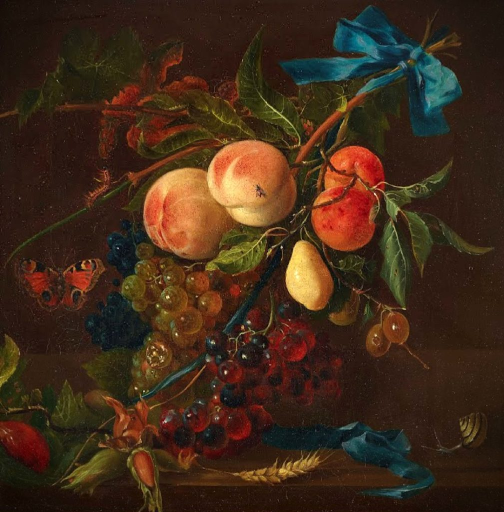the painting of the fruit pieces, peaches, grapes, pear, with the butterfly, snail, and fly Gottfried Wilhelm Voelcker, Fruit Pieces summer meal art