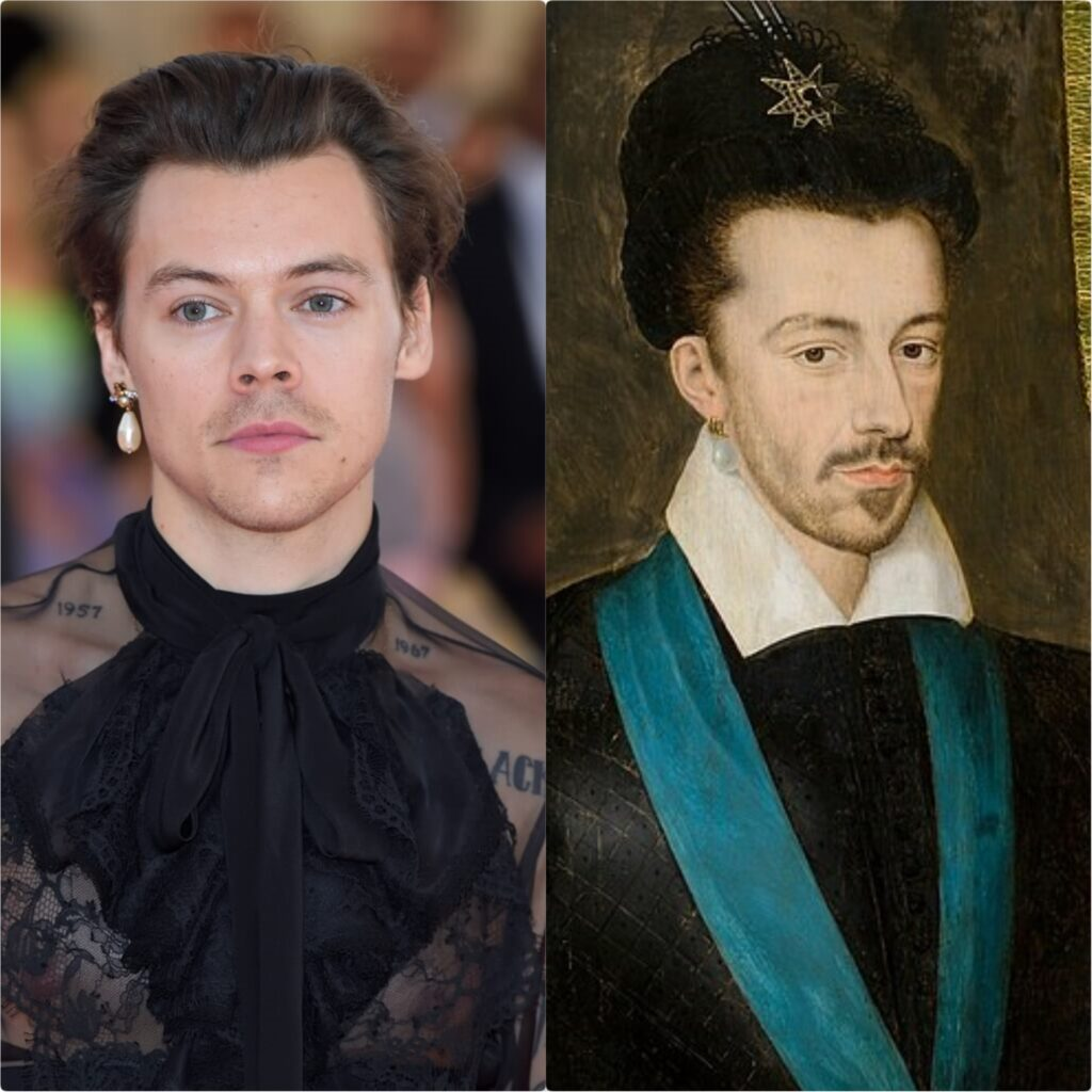 Left: Harry Styles in Gucci, Met Gala 2019, New York, NY, USA. Photo by Karwai Tang/Getty Images; Right: François Quesnel (attrib.), Portrait of Henry III of France in a Polish hat, ca. 1580-86, National Museum Poznań, Poznań, Poland.