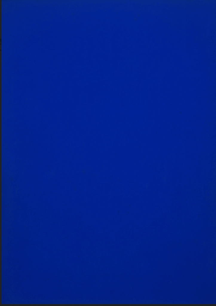 The Iconic Colors in Art History: Yves Klein, Blue Monochrome, 1961, Museum of Modern Art, New York, NY, USA.