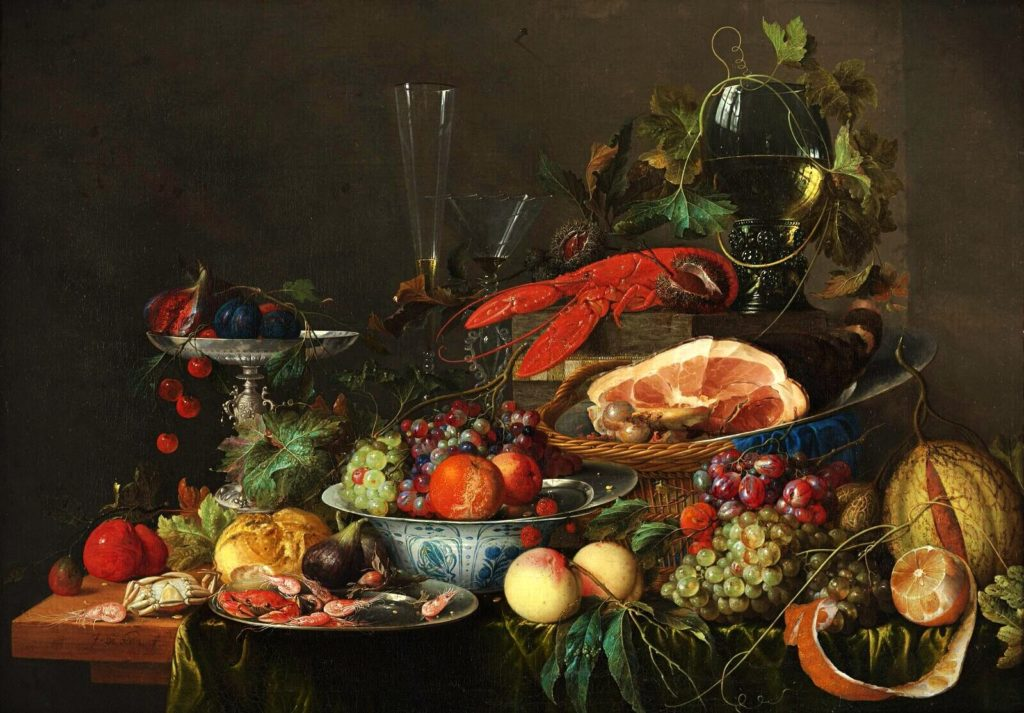 the painting of various berries, grapes, vegetables, ham, lobsters, and shrimps in the bowls and plates Jan Davidsz de Heem, Still Life with Ham, lobster and fruit summer meal art