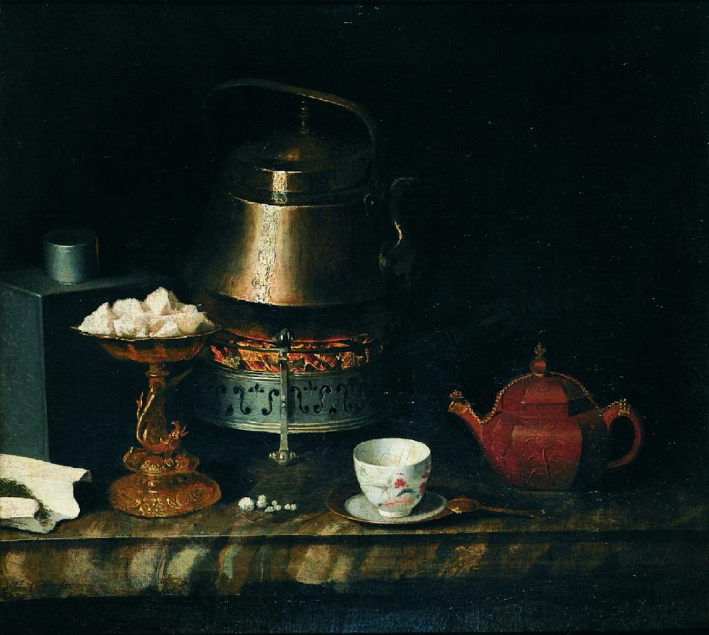 the perfect meal for a summer day, the painting of the still life of a table tea with a teacup, spoon and kettle set against the dark background Johann Zacharias Kneller, Still life of a tea table summer meal art