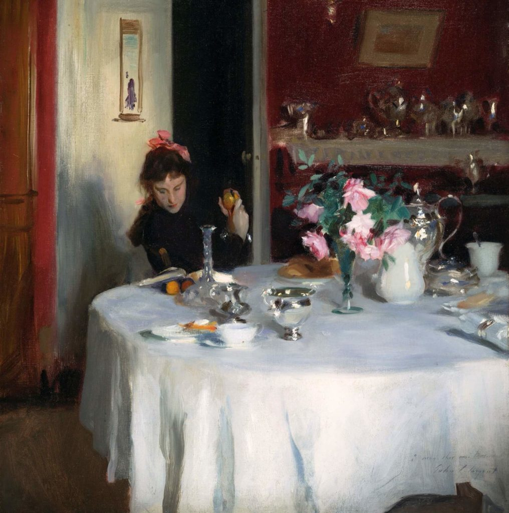 summer meal art; the painting of a woman sitting at the breakfast table and thinking John Singer Sargent, The Breakfast Table