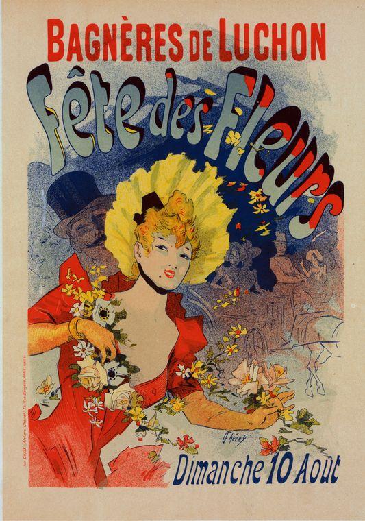 Vintage Parisian advertising posters: Jules Chéret, Fêtes des Fleurs de Bagnères de Luchon