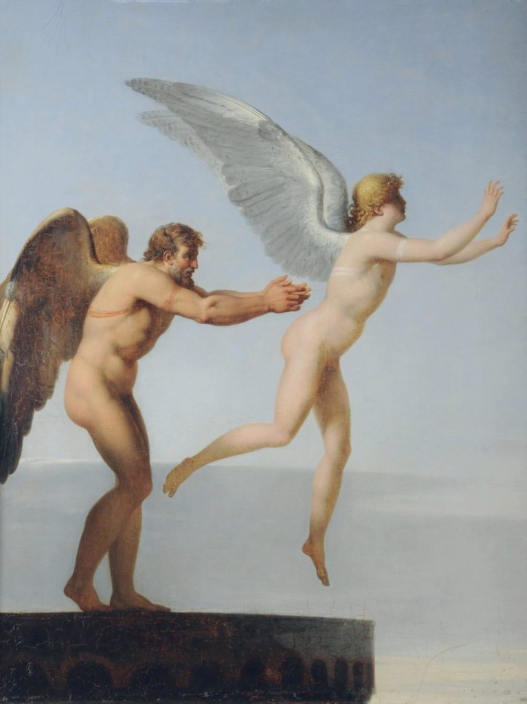 Male nudes in art history: Charles Paul Landon, Icarus and Daedalus