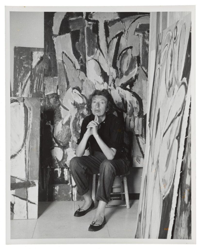 Lee Krasner in her studio in Springs