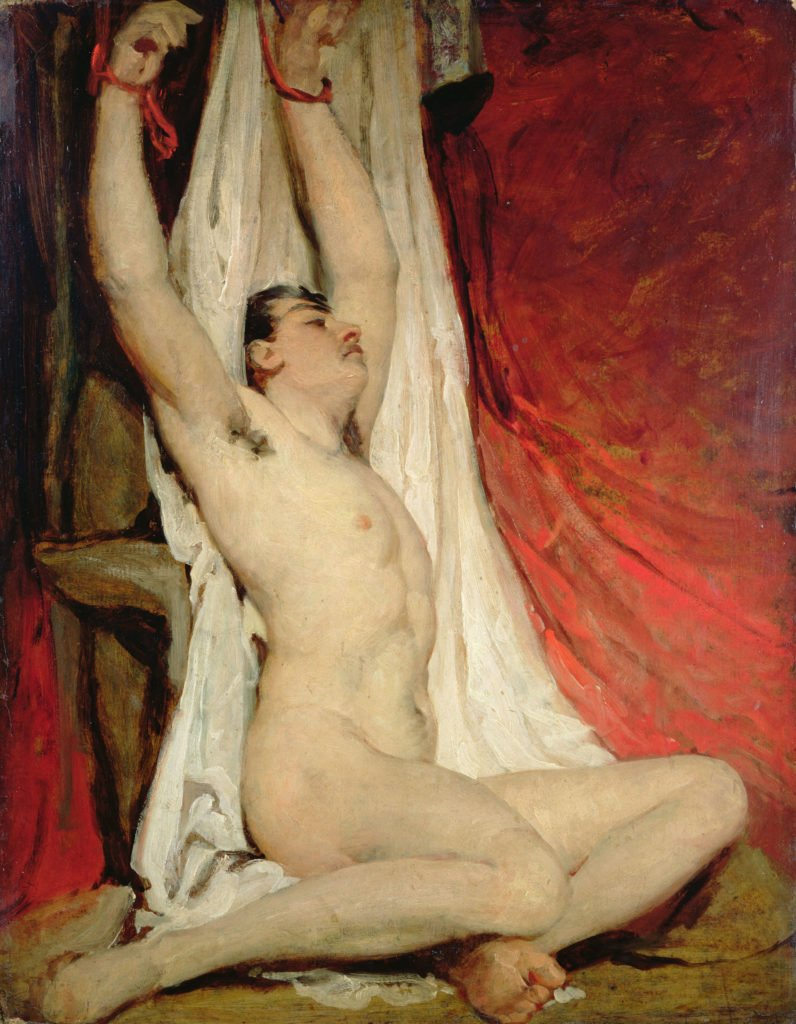William Etty, Male Nude, with Arms Up-Stretched,