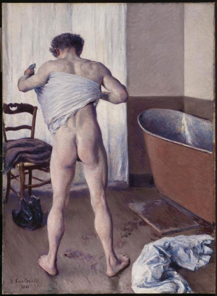 Male nudes in art history: Gustave Caillebotte, Man at His Bath, 1884,